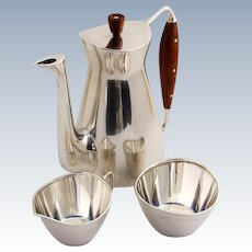 Modernist Coffee Set 3 Piece Michelsen Sterling Silver 1957 Denmark