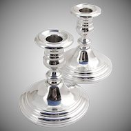 Large Console Candle Holders Pair Weighted Base Gorham Sterling Silver
