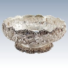 Repousse Floral Round Pedestal Centerpiece Bowl S Kirk And Son Sterling Silver