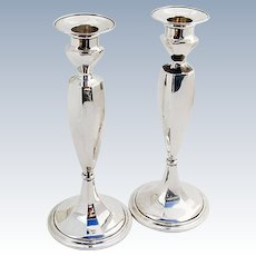 Colonial Revival Candlesticks Pair Gorham Sterling Silver 1900