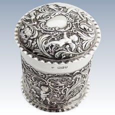 Edwardian Repousse Ornate Dresser Box English Sterling Silver 1906 London