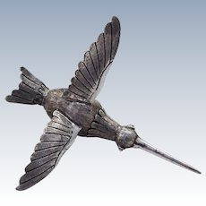 Vintage Agate Body Hummingbird Figurine Sterling Silver