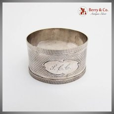 Antique Engine Turned Napkin Ring Applied Rims Coin Silver 1860