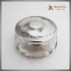 Floral Repousse Dresser Jar Cut Glass Gilt Interior Sterling Silver Webster 1930