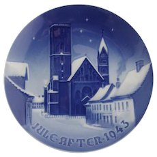 Bing Grondahl The Ribe Cathedral Christmas Plate 1943 Porcelain