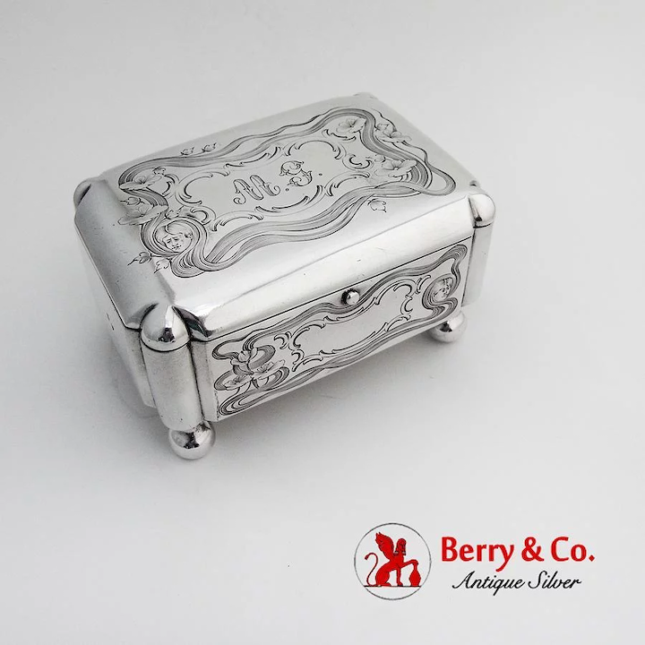 Floral Engraved Jewelry Box Hinged Lid Footed Russian 84 Standard Silver 1910s