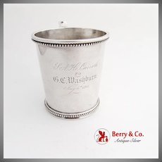 Vintage Childs Cup Beaded Rims Figural Handle N Harding Co Coin Silver Boston