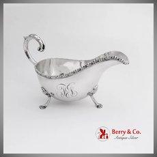 Ornate Gravy Boat Applied Rim Scroll Handle Figural Feet Sterling Silver 1900