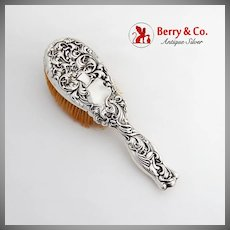 Repousse Heraldic Hair Brush Whiting Mfg Co Sterling Silver 1885 No Mono