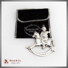 Gorham Boy On A Rocking Horse Christmas Ornament Sterling Silver 1990