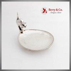 Scandinavian Hammered Beaded Dish Figural Cat Handle 830 Silver 1930