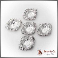 Art Nouveau Poppy Flower Nut Cups Set Alvin Sterling Silver