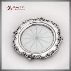 Floral Repousse Rim Cut Glass Coaster Sterling Silver 1940