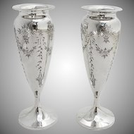 Edwardian Style Small Engraved Floral Vases Pair Sterling Silver