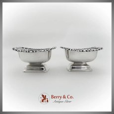 English Footed Open Salt Dishes Pair Ornate Rim Sterling Silver 1902 Birmingham