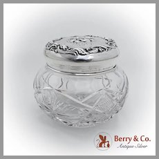 Art Nouveau Loves Dream Cut Glass Jar Unger Brothers Sterling Silver 1903