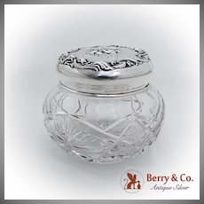 Art Nouveau Loves Dream Cut Glass Jar Unger Brothers Sterling Silver 1903