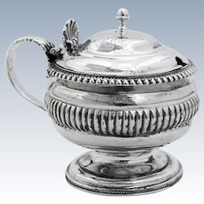 Ornate English Georgian Mustard Pot Ribbed Band Shell Accent Sterling Silver