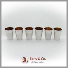Hammered Shot Cups Set Gilt Interior Asahi Shoten 998 Sterling Silver