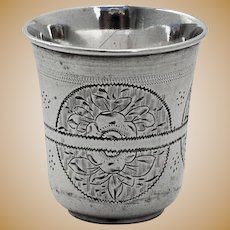Antique Russian Engraved Floral Shot Cup 84 Standard Silver 1874 Moscow