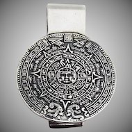 Aztec Calender Money Clip Sterling Silver 1970 Mexico
