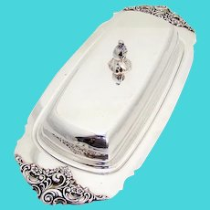 Wallace Baroque Covered Butter Dish Glass Liner Wallace Silverplate 1960