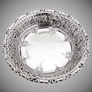 Celtic Weave Openwork Bowl Edmond Johnson Sterling Silver 1895 Dublin