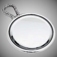 Repousse Floral Round Hand Mirror Gorham Sterling Silver 1899