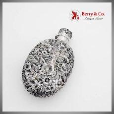 Art Nouveau Repousse Floral Flask Sterling Silver 1900