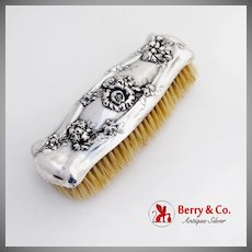 Repousse High Relief Floral Clothes Brush Sterling Silver 1890