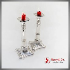 Corinthian Capital Candlesticks Pair Gorham Sterling Silver 1900