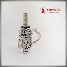 Openwork Floral Scroll Bottle Frame Black Starr Frost Sterling Silver 1890