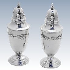 French Provincial Salt Pepper Shakers Pair Towle Sterling Silver 1948
