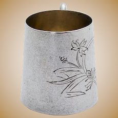 Art Nouveau Engraved Vodka Cup Gilt Interior Russian 84 Standard Silver 1908
