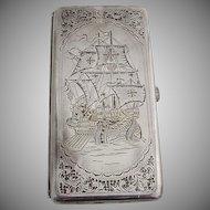 Japanese Large Cigarette Case Engraved Portuguese Galleon 950 Sterling Silver 1960