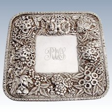 Repousse Floral Square Tray S Kirk And Son Coin Silver 1880 Monogram