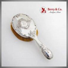 Baroque Floral Scroll Hair Brush Austrian 800 Silver 1900 Monogram