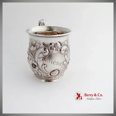 Repousse Floral Childs Cup Acanthus Leaf Handle Gorham Sterling Silver 1890