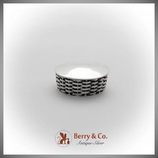 Round Pill Box Basket Weave Body Sterling Silver Mexico 1980