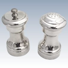 Large Pepper Grinder Salt Shaker Set Empire Sterling Silver Composite 1950