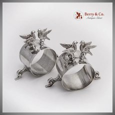Vintage Figural Bird Napkin Rings Pair French Silverplate 1900