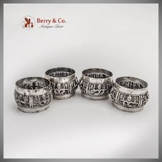 Indian Raj Repousse Figural Napkin Rings Set Numbered Sterling Silver 1920