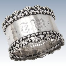 Ornate Openwork Border Napkin Ring Towle Sterling Silver Mono