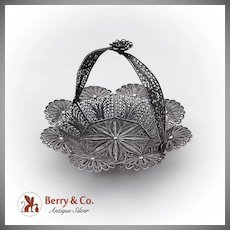 Vintage Small Ornate Filigree Basket Sterling Silver