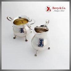 Honey Comb Peened Creamer Sugar Bowl Set Dominick Haff Sterling Silver 1884