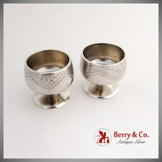 Aesthetic Floral Engraved Open Salts Pair Pedestal Bases Whiting Mfg Co Sterling Silver