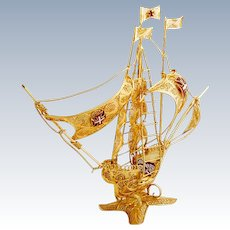 Filigree Gilt Large Caravel Ship Figure Enamel Accents Portuguese 833 Silver 1960