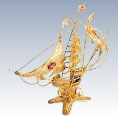 Filigree Gilt Small Caravel Ship Figure Enamel Accents Portuguese 833 Silver 1960