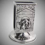 Art Nouveau Footed Match Box Holder Figural Dog Head Sterling Silver 1910