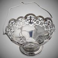 English Ornate Cut Work Basket Charles S Green Co Sterling Silver 1919 Birmingham